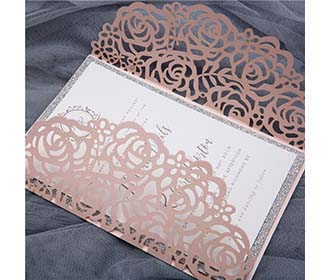 Gate fold wedding invitation in blush and silver shimmer