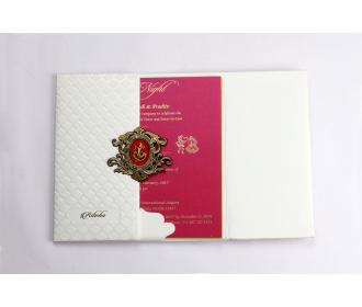 Gatefold style Ivory card with Designer red and Golden Ganesha and multicolour inserts