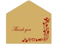 Thank you card  in Golden & Red Floral Design