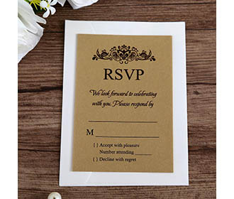 Gold colour RSVP card wedding stationery with envelope