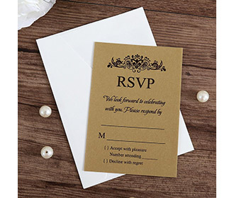 Gold colour RSVP card wedding stationery with envelope -