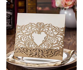Gold Lace Cut Wedding