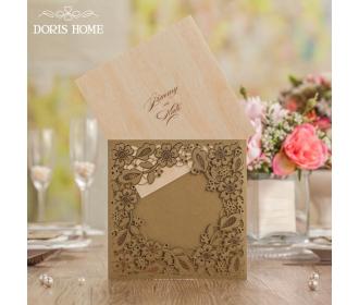 Gold Square Floral Vintage Laser Cut Wedding Invitation