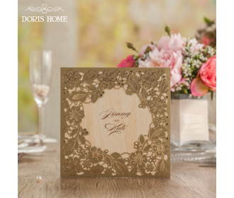 Gold Square Floral Vintage Laser Cut Wedding Invitation -