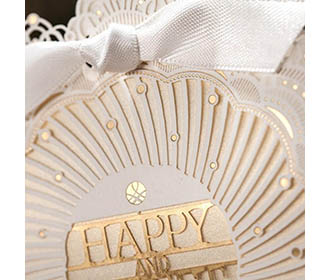 Golden and white Laser cut Design gift boxes with lace