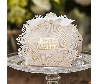 Golden and white Laser cut Design gift boxes with lace -