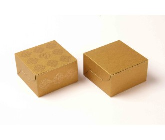 Golden Color Rectangular party favour box with printed initials and golden design