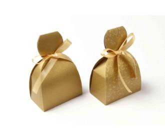 Golden Colour plain party favour boxes with ribbon closure