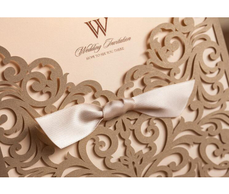 Golden Laser Cut Flower with Bowknot Lace Pocket Invitation