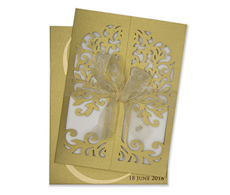 Golden laser cut wedding invite with a gate fold