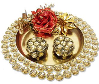 Golden Stone Studded Ring Platter with Ring Cases -