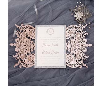 Gorgeous royal laser cut wedding invitation in metallic pink & silver -