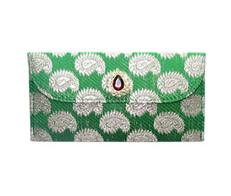 Green Brocade Envelope