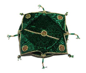 Green velvet Puja Thali ( 14.5 inch ) -