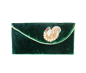 Green Velvet with broach hand Clutch -