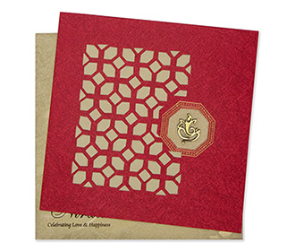 Greeting card style laser cut invite in red & golden