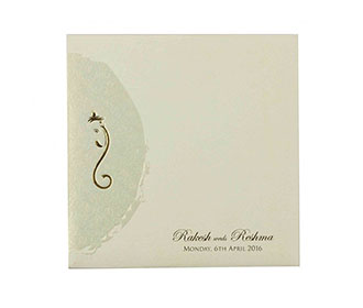 Hindu Wedding Card in Cream with Self Flower Design & Ganesha