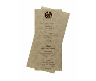 Hindu Wedding Card in Golden Brown with a Pull out insert