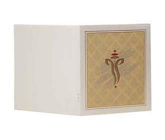 Hindu Wedding Card in Ivory & Khakhi Color with embossed Ganesha