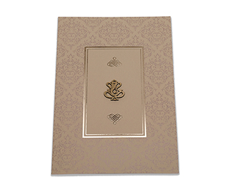 Hindu wedding card in olive colour with lasercut name Ganesha symbol