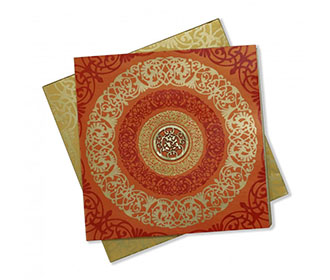 Hindu Wedding Card in Orange with Floral Design & Ganesha