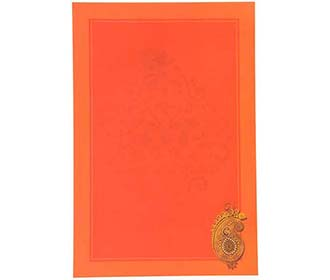 Shades Of Orange wedding card with ganesha design in shades of orange