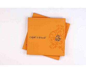 Hindu wedding invitation card in yellow brown colour