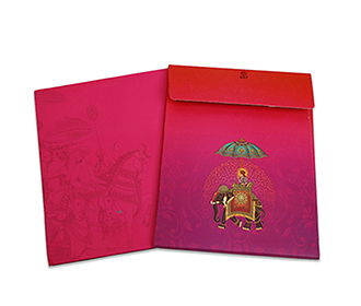 Hindu wedding invitation for in red color bride side