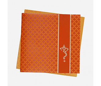 Hindu Wedding Invitation in Orange with Multi Color Inserts