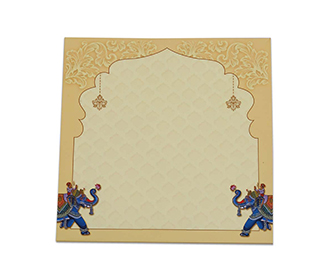 Hindu wedding invite with royal elephants and wedding rituals