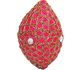 Hot Pink & gold with stones Decorated Coconut