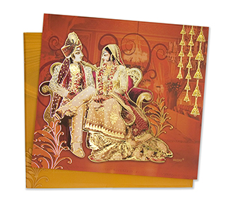 Indian Invitation card with Royal wedding procession theme