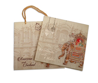 Indian Royal theme wedding invite in beige colour -