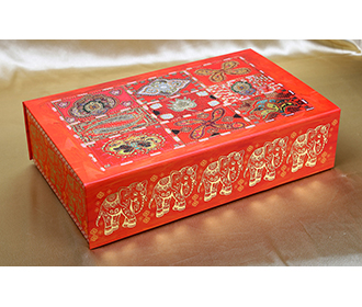 Indian wedding box card in red with motifs  elephants and mirror shaped inserts -