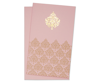 Indian wedding card in baby pink with floral motifs