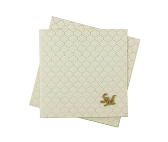 Indian Wedding Card in Cream with Motifs in Self & Golden Color