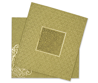 Indian wedding card in green embossed motifs and laser cut design -