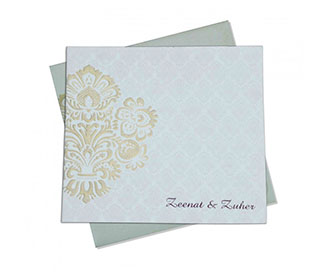 Indian Wedding Card in Ivory with Embossed Motifs in Golden