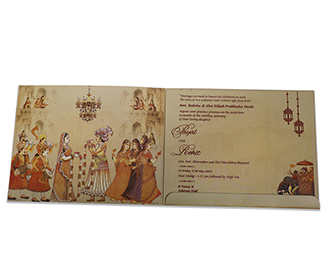 Indian wedding card with baraat and jaimala images in cream colour