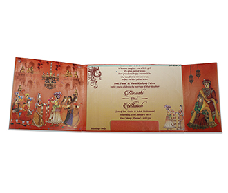 Indian wedding card with baraat and jaimala scene images