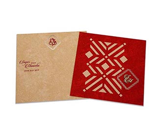 Indian wedding card with laser cut Geometric pattern in red