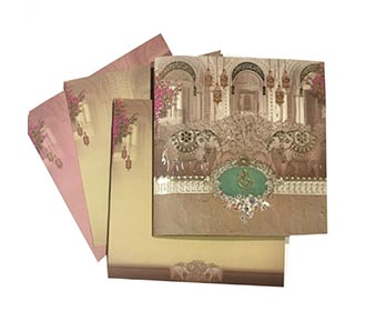 Indian wedding card with royal couple, elephants & a beautiful palace -