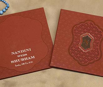 Indian Wedding Invitation Card in Brick Red Colour -