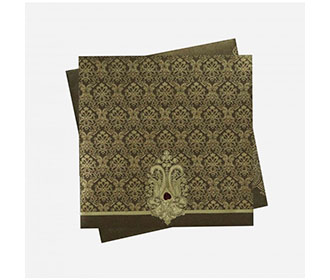Indian Wedding Invitation in Brown with Motifs in Golden