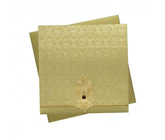 Indian Wedding Invitation in Golden with Motifs in Self Design