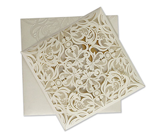 Indian wedding invitation in intricate laser cut design -