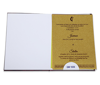 Indian wedding invitation in purple satin with paisley design