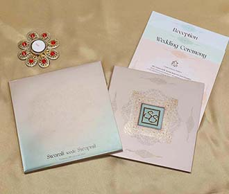 Indian Wedding Invitation in Shades of Dusty Pink & Blue