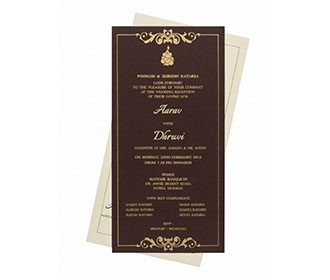 Indian Wedding Invitation with a Brown Insert and Golden Border