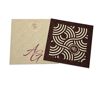 Indian wedding Invitation with circular geometric patterns in brown